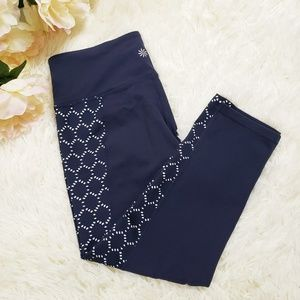 Athleta Navy Cropped Leggings Laser Cut Panels